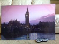 Large canvas picture of London scene Big Ben in purple shades