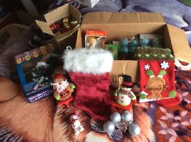 For sale large box of Christmas decorations