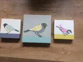 Three Bird Canvas Picture