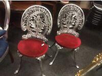 2 X vintage cast iron patio chairs