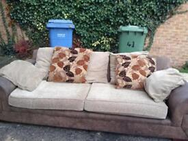 3 seater with washable cushions one side plain with leaves as shown