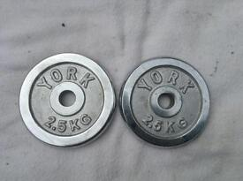 6 x 2.5kg York Chrome Standard Weights (2 Styles)