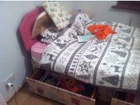 single divan bed, mattress & headboard - can deliver