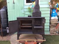 Woodburning stove, cooker, fire.