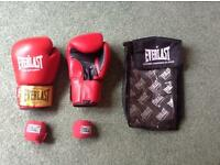 Everlast red leather 10oz sparring / boxing gloves with wrist wraps