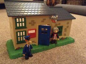 Postman Pat Post office, Pat figure and Mrs Goggins figure
