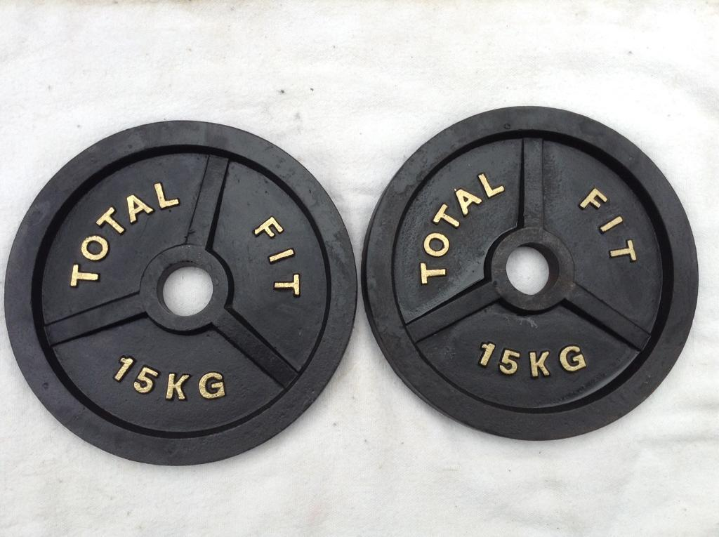 2 x 15kg Total Fit Olympic Cast Iron Weights