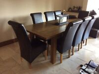 Eight Scroll Back Dining Room Chairs - Chocolate Brown Faux Leather