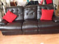 Dark Brown Leather 3 Seater + 2 Seater Recliner Sofas