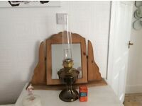 Vintage brass oil lamp with glass funnel £22