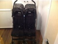 Maclaren twin techno double buggy/pushchair with raincover