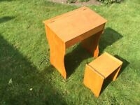 Wooden Child's School / Playroom / Home Study Desk with Wooden Stool and New Brass Lid Stay