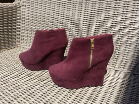 Ankle boots burgundy colour, SIZE 6
