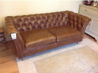BRAND NEW WITH TAGS VINTAGE SOFA CO GRANBY 2 SEATER SOFA IN CERATO BROWN ITALIAN ANILINE LEATHER