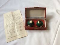 Pair of Chinese Cloisonne Ying & Yang Health Balls Relaxation Massage In Box
