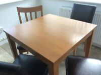 SMALL SQUARE DINING/KITCHEN TABLE 7 4 CHAIRS