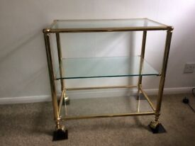 Trolley glass shelves gold surround