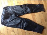 "Mens leather biker trousers Gear X 38""waist 30"" leg"