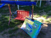 CHILDREN'S GARDEN SET, HAMMOCK/SWING, TABLE, PARASOL AND CHAIR SET