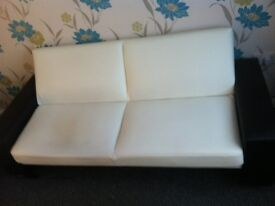 Sofa bed 2x black & white Leather sofa beds very good condition can veiw before buy, £200