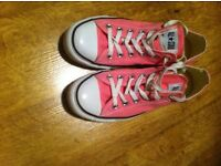 Pink Converse All Stars (Low rise, not high top) UK Size 7 Unisex Trainers (EUR Size 40).