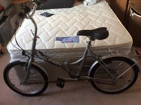Raleigh folding bike, complete with carry bag.
