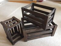 Set 3 Dark Brown Wooden Crates