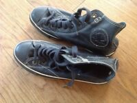 Converse All Stars, black leather, good clean condition with not much wear. Size 7(UK).