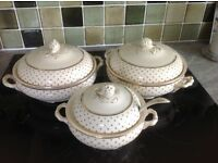vintage dinner ware: 2 vegetable tureens and one sauce tureen with ladle.