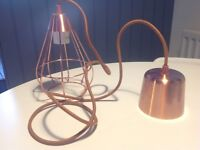 Copper coloured pendant cage light fitting