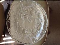 Christmas glass plate . large