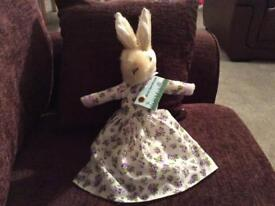 Dressed rabbit With Birth Certificate handmade in Yorkshire lilac flower dress