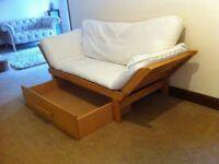Sofa Bed / Futon, wooden & cream, drawer underneath on wheels