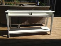 WHITE NARROW IKEA SIDE TABLE WITH REMOVABLE GLASS TOP. TWO SHELVES. GOOD CONDITION