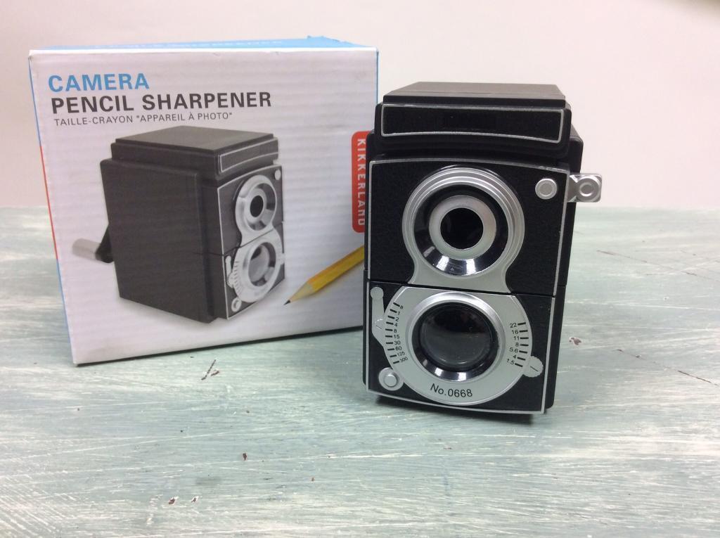 Camera pencil sharpener. New.