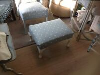 ANTIQUE LLOYD LOOM NURSING CHAIR ,ANTIQUE STOLL ,AND ANTIQUE SIDE TABLE ,UPHOLSTERED DUCK EGG BLUE
