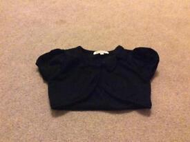 Bluezoo girls black short sleeve cardigan age 4-5 years