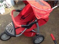 Double buggy with 2x cosy toes and rain cover