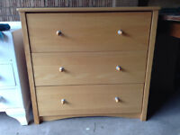 Beech solid wood chest of drawers