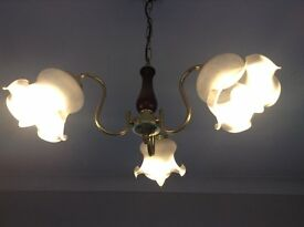 3 arm brass effect centre light with glass shades + single wall light