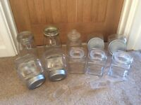 Selection of 10 kitchen sweet jars & 3 scoops, various sizes and shapes, for wedding home or party
