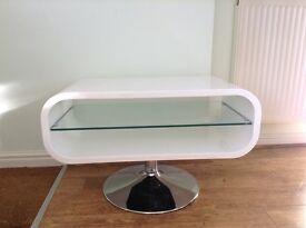 Oval High Gloss White TV Unit