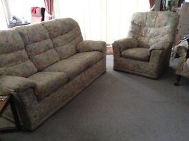 G Plan 3 seat sofa & 2 armchairs cream, floral design
