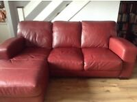 Red Leather Chaise End Sofa