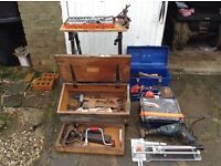 Selection of tools including electric and manual