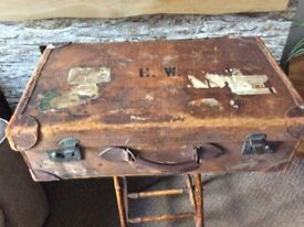 Vintage leather suitcase, storage/ decorative item