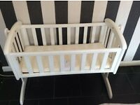 White swinging baby crib FOR SALE