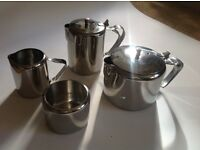 Retro Mid Century 1960s Viners Tea and Coffee Pot Set with milk jug and sugar bowl