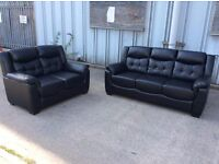 Black Leather 3 Seater + 2 Seat Sofa Set - Ex Display - £399 Including Free Local Delivery