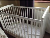 Compact cot bed, white, including mattress. Brand new condition.